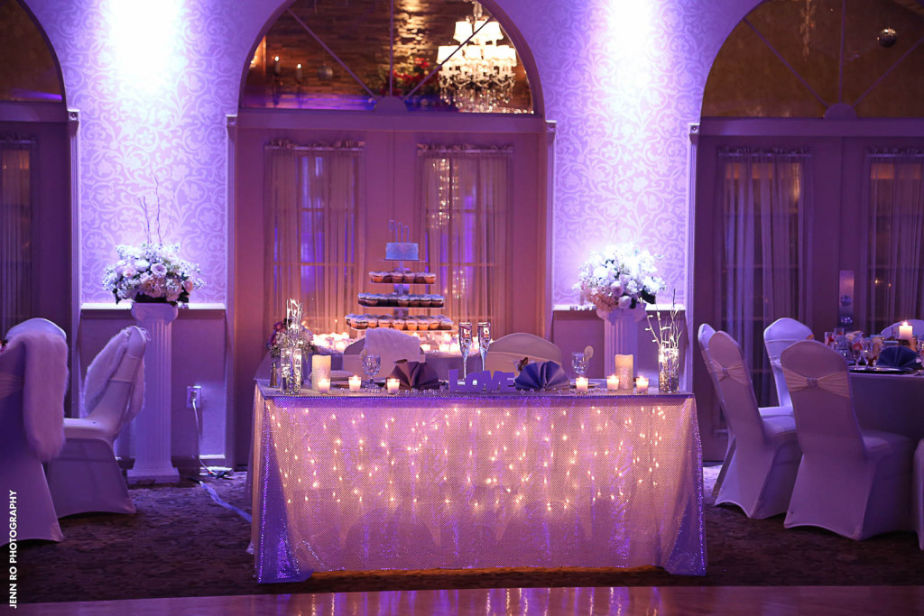 Couples table string lights at versailles ballroom wedding for Ball room decoration
