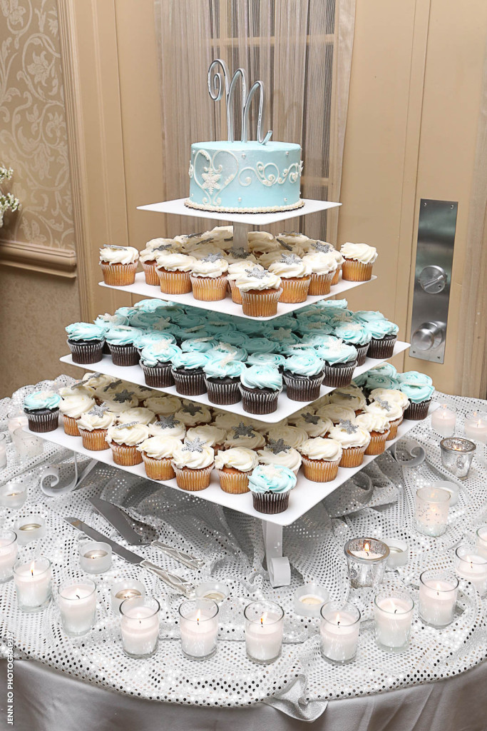 Blue and White Cupcake Tower