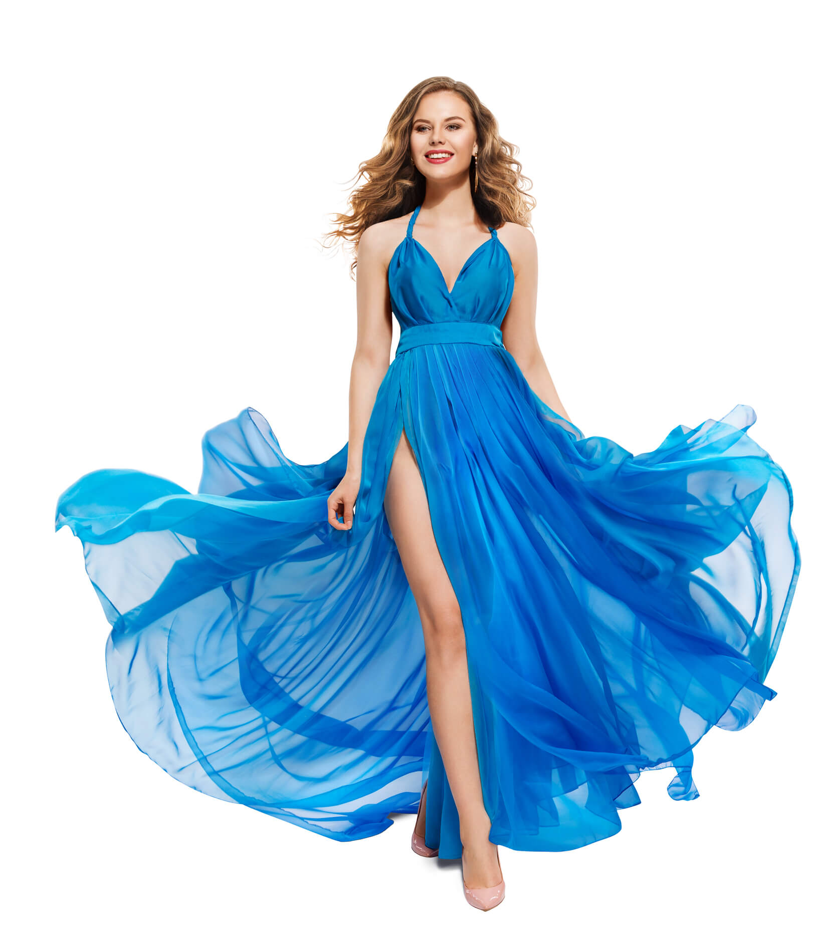 Long Waving Blue Gown